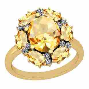 3.41 Ctw Citrine And Diamond I2/I3 14K Yellow Gold Ring