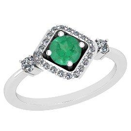 0.70 Ctw Emerald And Diamond I2/I3 14K White Gold Vinta