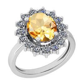 3.28 Ctw Citrine And Diamond I2/I3 10K White Gold Vinta