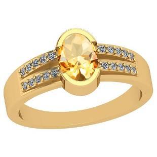 0.62 Ctw Citrine And Diamond I2/I310K Yellow Gold Vinta