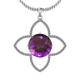 Certified 7.72 Ctw I2/I3 Amethyst And Diamond 14K White