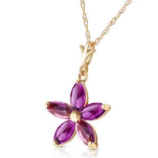 1.4 CTW 14K Solid Gold Tendency To Love Amethyst Neckla