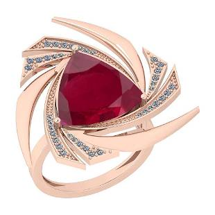 4.53 Ctw Ruby And Diamond SI2/I1 14K Rose Gold Vintage