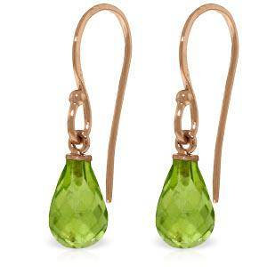 14K Solid Rose Gold Fish Hook Earrings with Peridots