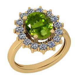 3.28 Ctw Peridot And Diamond I2/I3 10K Yellow Gold Vint