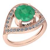 2.85 Ctw VS/SI1 Emerald And Diamond Platinum 14K Rose G