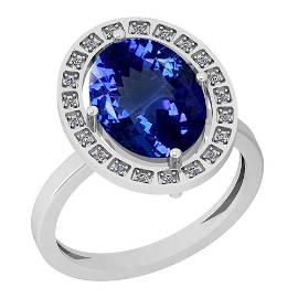 2.83 Ctw VS/SI1 Tanzanite And Diamond Platinum Ring
