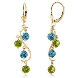 4.94 Carat 14K Solid Gold Chandelier Earrings Blue Topa