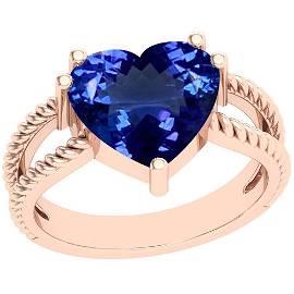 4.43 Ctw Tanzanite Platinum 14K Rose Gold Plated Ring