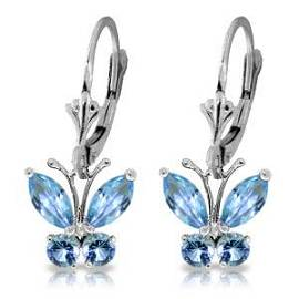 1.24 Carat 14K Solid White Gold Butterfly Earrings Blue