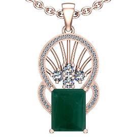 23.89 Ctw VS/SI1 Emerald And Diamond Platinum 14K Rose