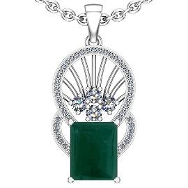 23.89 Ctw VS/SI1 Emerald And Diamond Platinum Pendant