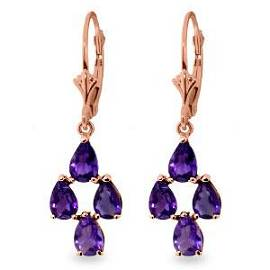 3 Carat 14K Solid Rose Gold pearll Amethyst Leverback E