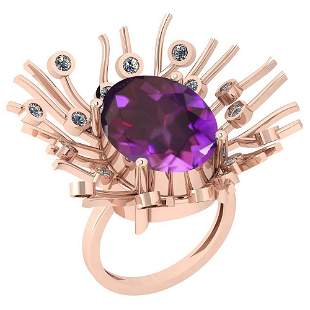 8.49 Ctw VS/SI1 Amethyst And Diamond 14k Rose Gold Vict