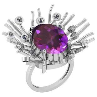 8.49 Ctw VS/SI1 Amethyst And Diamond 14k White Gold Vic