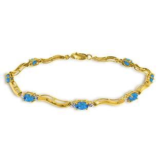 2.16 Carat 14K Solid Gold Tennis Bracelet Diamond Blue