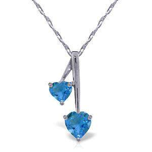 1.4 CTW 14K Solid White Gold Hearts Necklace Natural Bl