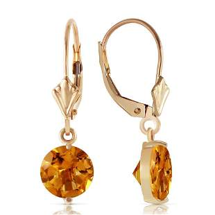 3.1 Carat 14K Solid Gold Leverback Earrings Citrines