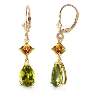 4.5 CTW 14K Solid Gold Leverback Earrings Peridot Citri