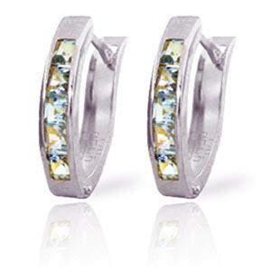 0.85 Carat 14K Solid White Gold Oval Huggie Earrings Aq