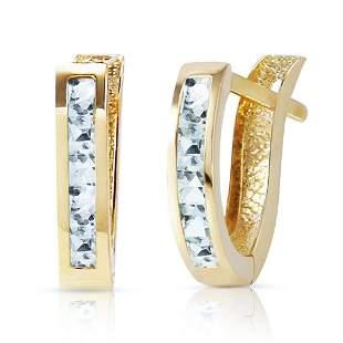 0.85 Carat 14K Solid Gold Oval Huggie Earrings Aquamari