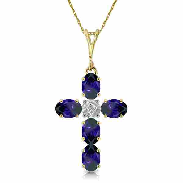 1.88 Carat 14K Solid Gold Cross Necklace Natural Diamon