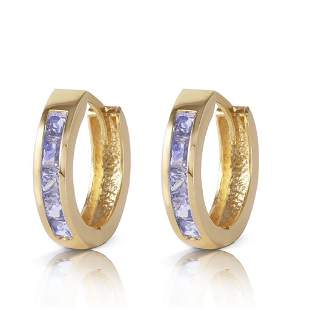 0.95 CTW 14K Solid Gold Huggie Hoop Earrings Tanzanite