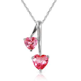 1.4 Carat 14K Solid White Gold Hearts Necklace Natural
