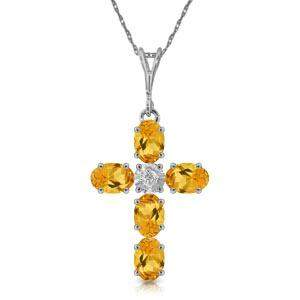 1.88 Carat 14K Solid White Gold Cross Necklace Natural