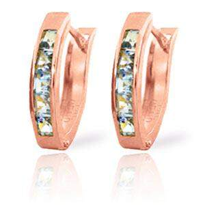 0.85 Carat 14K Solid Rose Gold Oval Huggie Earrings Aqu