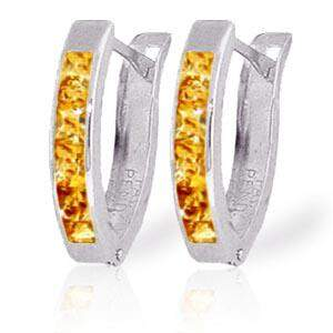 0.7 CTW 14K Solid White Gold Oval Huggie Earrings Citri