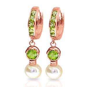 4.3 Carat 14K Solid Rose Gold Huggie Earrings pearl Per