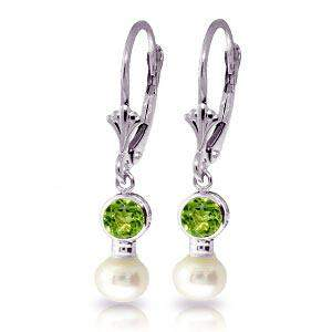 5.2 Carat 14K Solid White Gold Leverback Earrings pearl