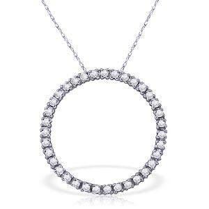 0.52 CTW 14K Solid White Gold Diamond Circle Of Love Ne