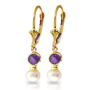5.2 CTW 14K Solid Gold Leverback Earrings pearl Amethys
