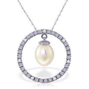 4.1 Carat 14K Solid White Gold Diamond pearl Circle Of