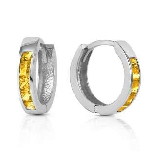 0.7 CTW 14K Solid White Gold Hoop Huggie Earrings Citri