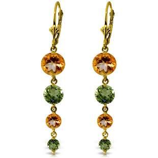 7.8 CTW 14K Solid Gold Chandelier Earrings Citrine Peri