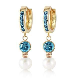 4.3 Carat 14K Solid Gold Huggie Earrings pearl Blue Top