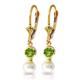 5.2 CTW 14K Solid Gold Leverback Earrings pearl Peridot