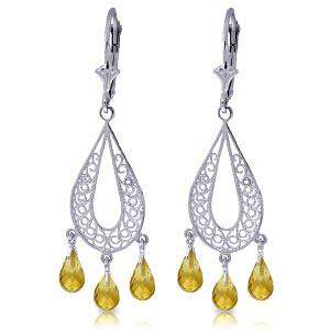 3.75 Carat 14K Solid White Gold Chandelier Earrings Nat