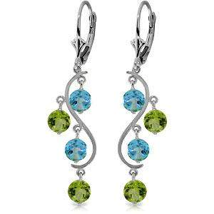 4.94 Carat 14K Solid White Gold Chandelier Earrings Blu