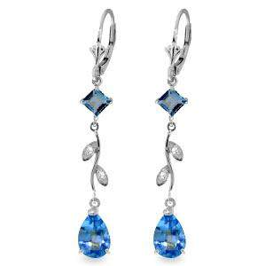 3.97 Carat 14K Solid White Gold Chandelier Earrings Nat