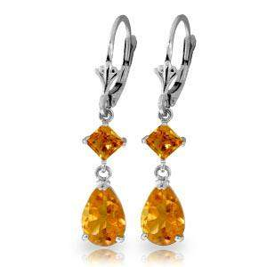 4.5 Carat 14K Solid White Gold Leverback Earrings Citri