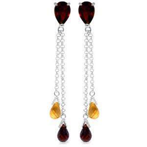 7.5 CTW 14K Solid White Gold Chandelier Earrings Garnet