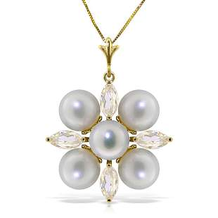 6.3 CTW 14K Solid Gold Necklace White Topaz pearl