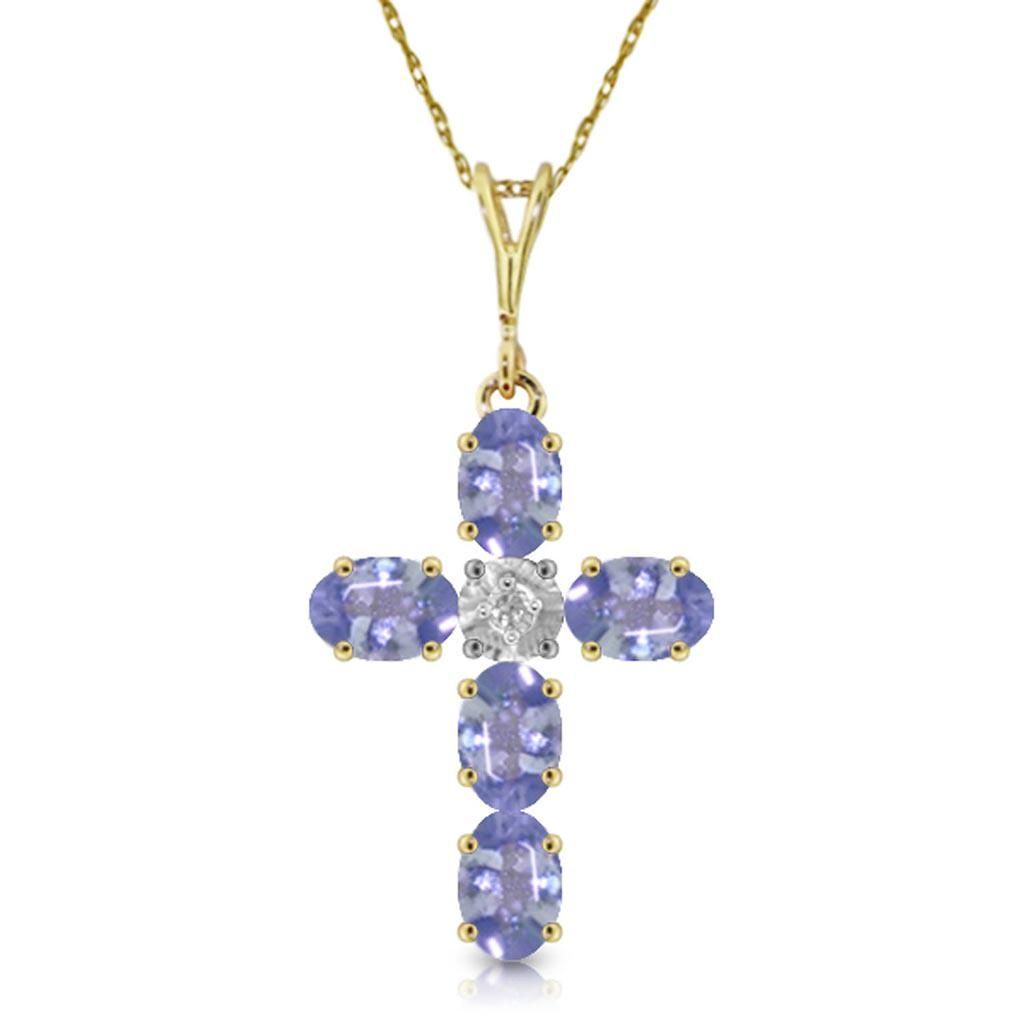 1.75 CTW 14K Solid Gold Cross Necklace Natural Diamond