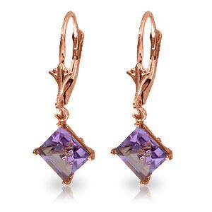 3.2 CTW 14K Solid Rose Gold Amethyst Simplicity Earring
