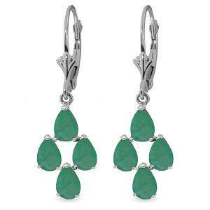4.5 Carat 14K Solid White Gold Gazelle Emerald Earrings