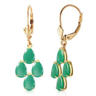 4.5 Carat 14K Solid Gold Evergreen Emerald Earrings